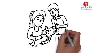 How to drawing a baby and parents