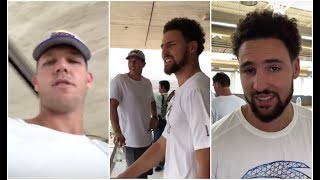 Luke Walton hanging out with Klay Thompson in Qatar, but he keeps teasing him about the Warriors