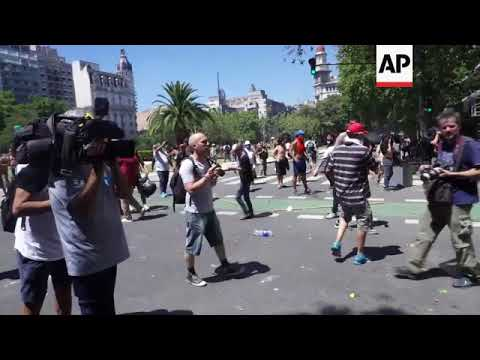 Clashes break out as Argentines protest pension reform