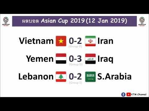ผลบอล Asian Cup ล่าสุด รอบแรก : อิหร่านสอยเวียดนาม   อิรัคถลุงเยเมนยับ   ซาอุกินนิ่มๆ (12 Jan 2019)