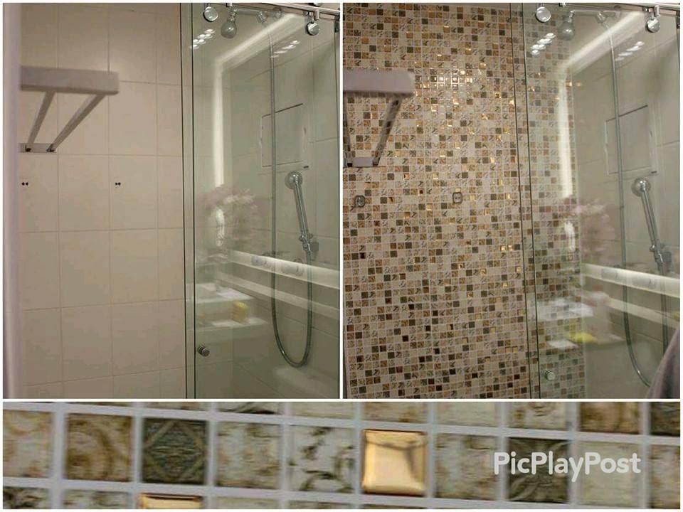 Antes e depois do banheiro  Pastilhas adesivas resinadas  Parceria MMilan  -> Banheiro Com Azulejo Imitando Pastilha
