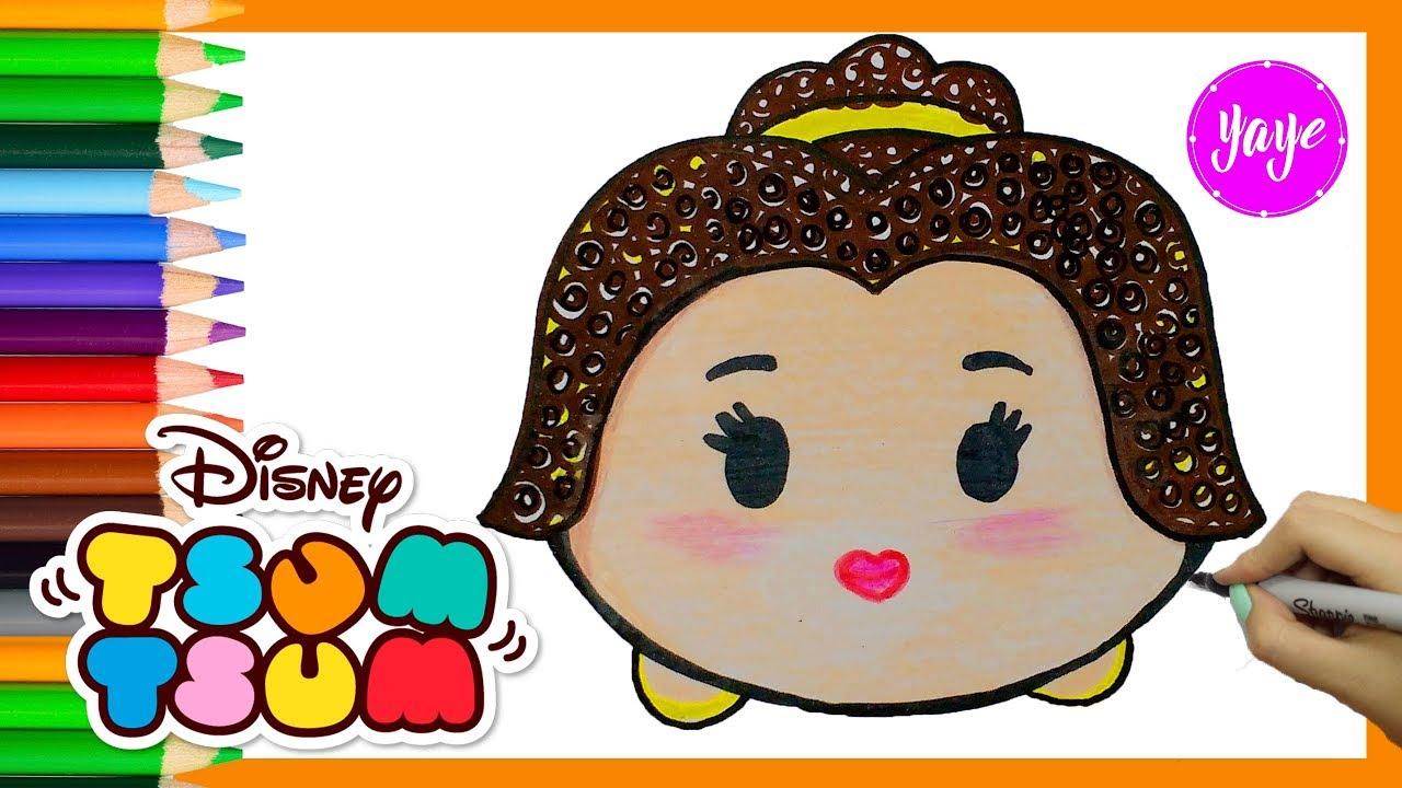 Dibujos Tsum Tsum Dibujos Para Colorear: Cómo Dibujar Disney Tsum Tsum Bella-How To Draw Disney