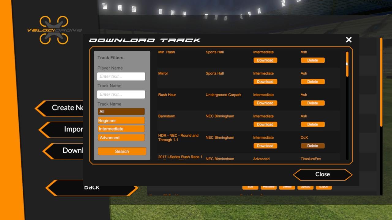 VelociDrone 1 7 - Central Track Database for customer built tracks