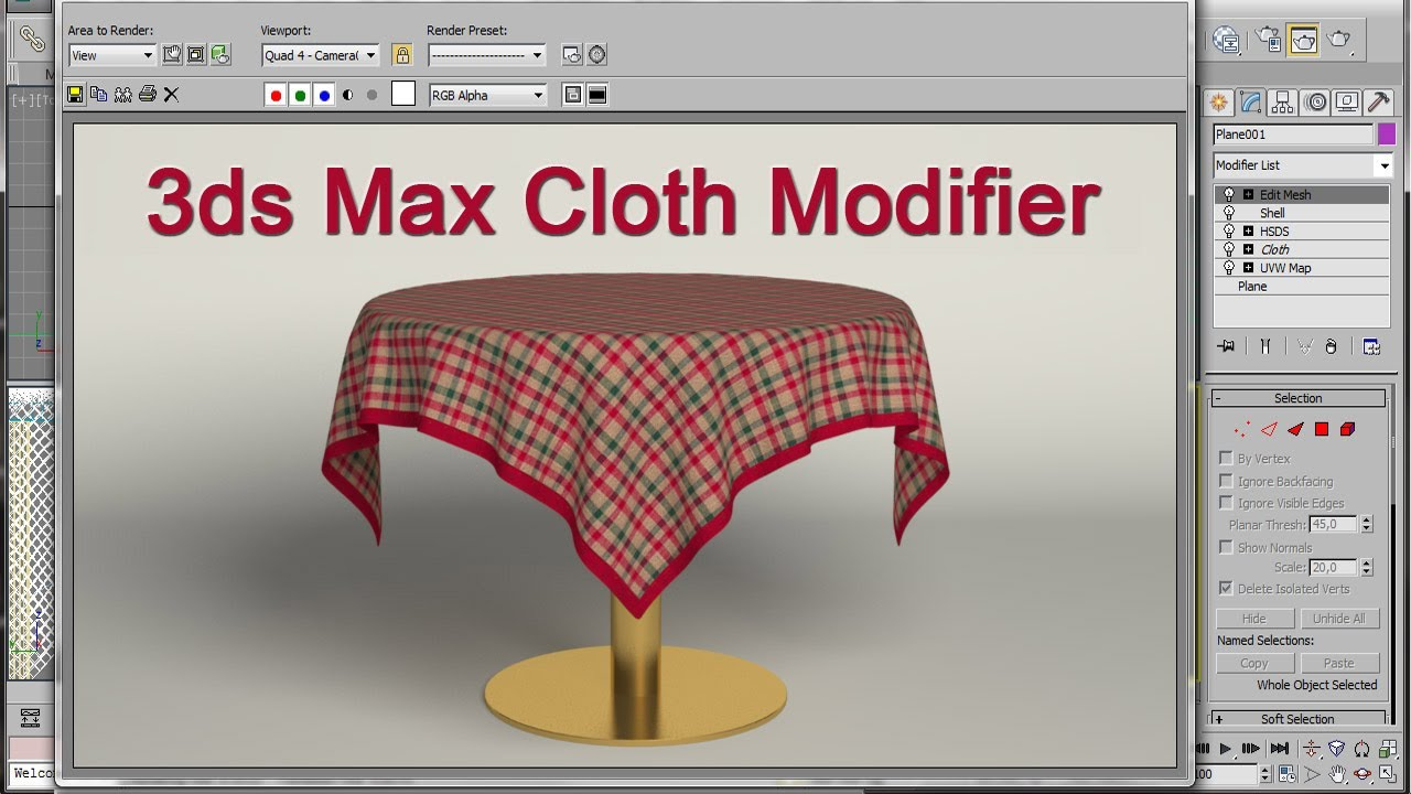 3ds max table and tablecloth youtube. Black Bedroom Furniture Sets. Home Design Ideas
