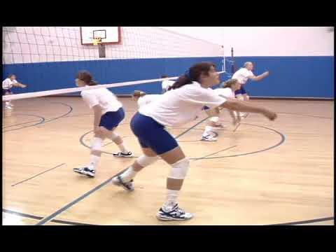 Burris Laboratory School girls' volleyball practice, 1995