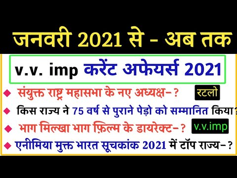 Important Current Affairs 2021 In Hindi   करेंट अफेयर्स 2021   RRC Group D, SSC, Police, And All