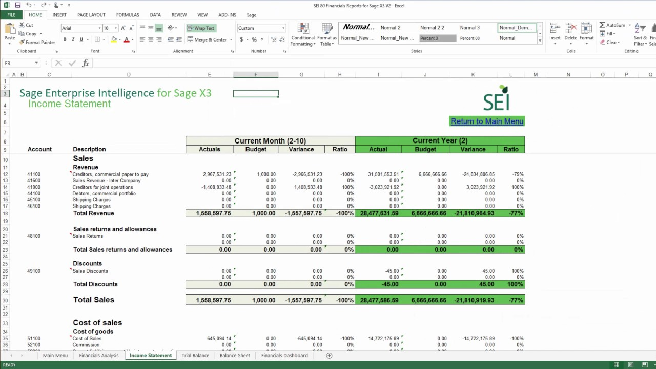 SEIT - Sage Enterprise Intelligence: Exploring the Excel Add-in  Enhancements in SEI V8