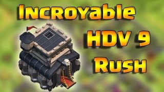 Incroyable HDV 9 Rush - 20 défenses gagnées - Clash Of Clans