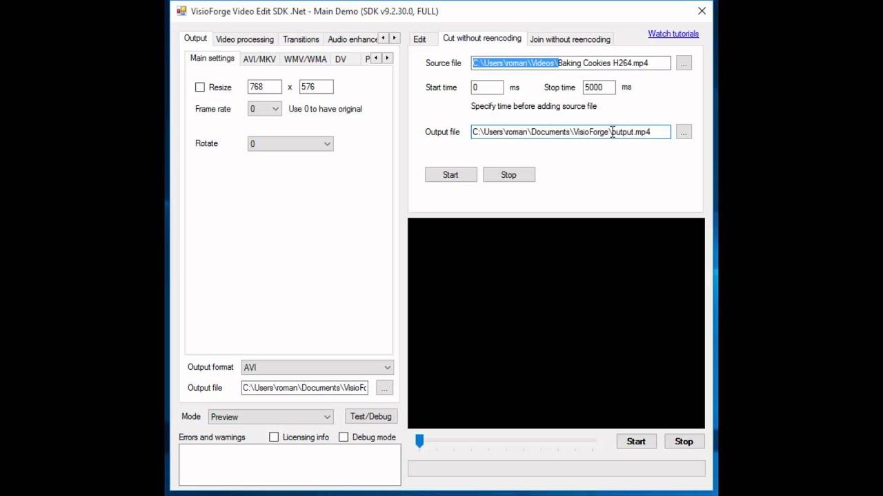 Video Edit SDK .Net - Cut without reencoding - YouTube