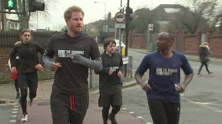 Harry goes out jogging with homeless charity