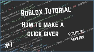 Roblox How to make a click giver! {NO CODING}