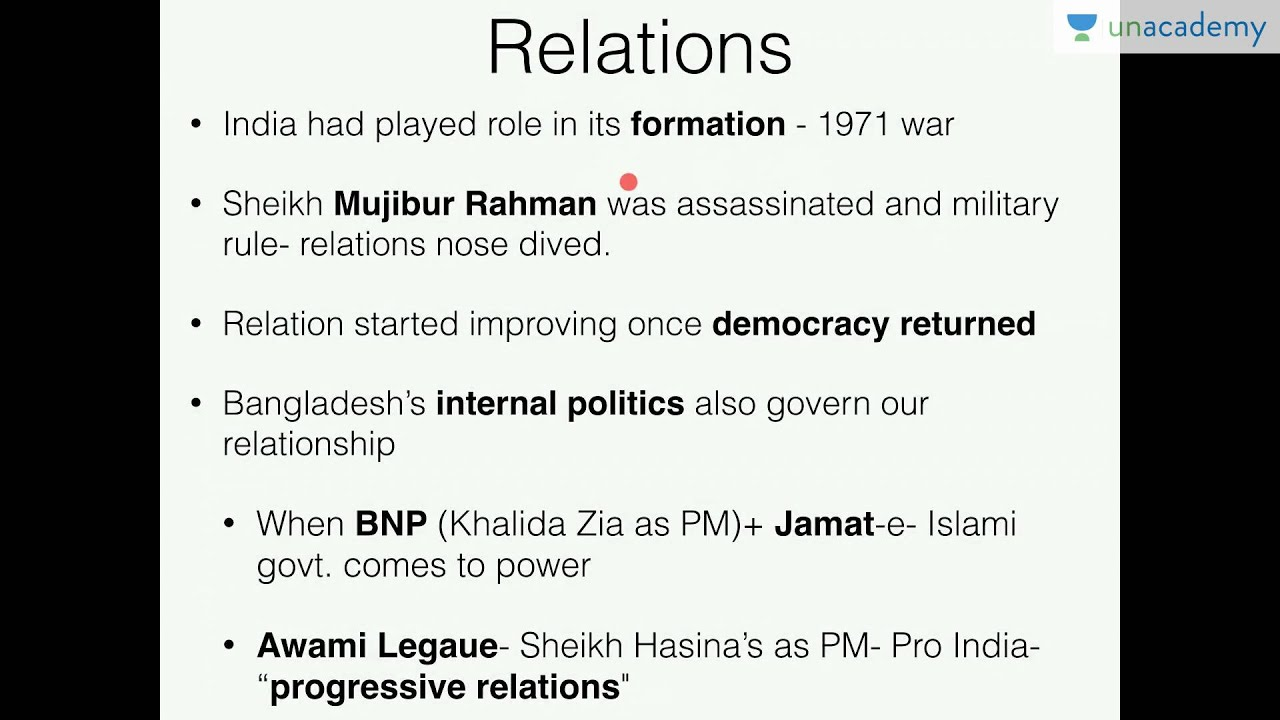 Unacademy UPSC/History: IR India Bangladesh Relations Part 1- Battle of  Begums