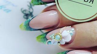 Eng CC Лепка гелем пластилин  Лепка цветов на ногтях  Дизайн ногтей с инкрустацией стразами