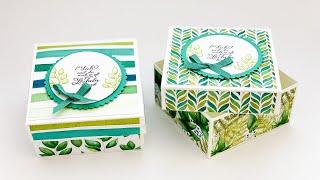 Schachtel mit Deckel basteln-Geschenkbox aus Papier selber machen-Kiste basteln-DIY