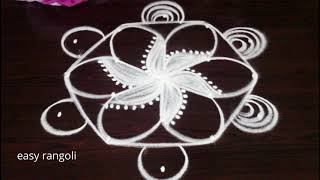 How to draw simple rangoli & kolam with 5 dots - muggulu patterens