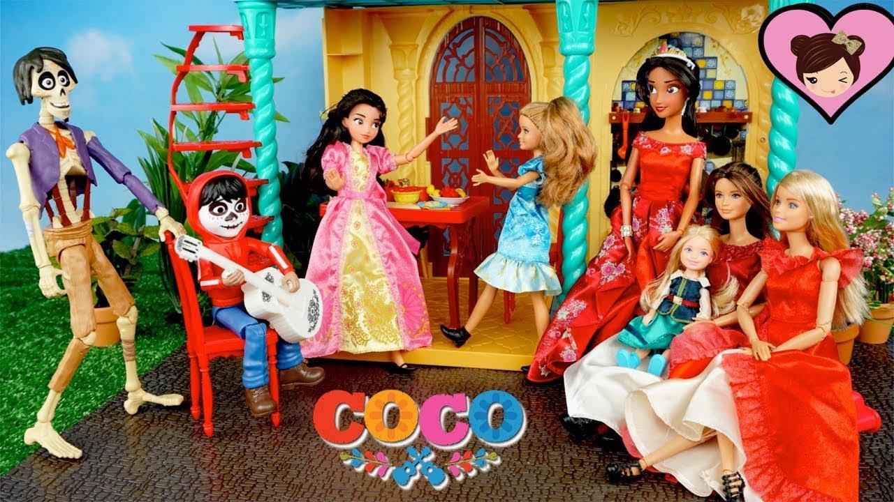 Disney Coco Miguel Surprises Barbie \u0026 Princess Elena in The Avalor