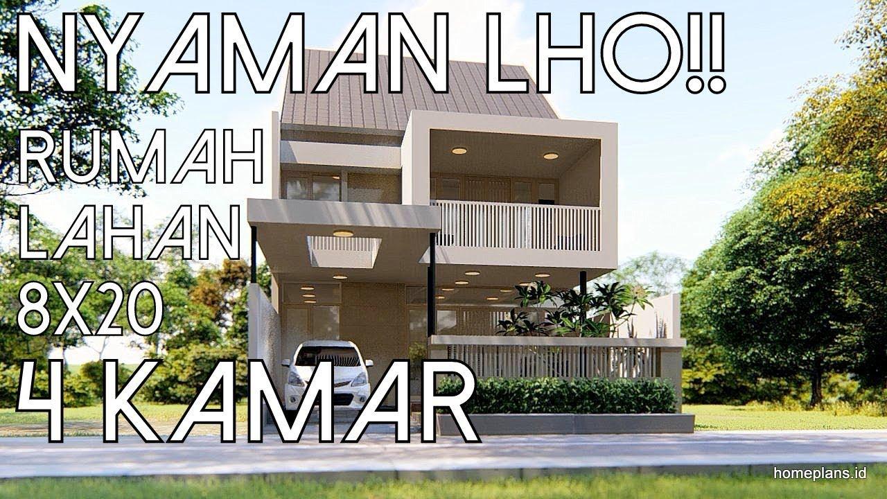 Desain Rumah Aksen Kotak 4 Kamar Lahan 8x20 Kode 066 Youtube