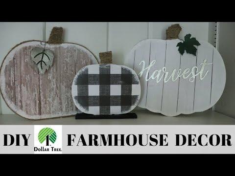 DOLLAR TREE DIY / FARMHOUSE FALL DECOR / DIY FARMHOUSE PUMPKINS