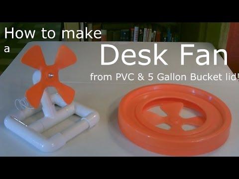 """Homemade Fan!  ~ The DIY """"home depot"""" Desk Fan ~ (made w/PVC & 5 Gal. bucket Lid!) - Easy DIY"""