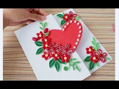 Diy Paper Quilling Flower Card Design 38 Quilling Flower Heart