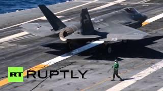 USA: F-35 FINALLY makes first landing aboard aircraft carrier