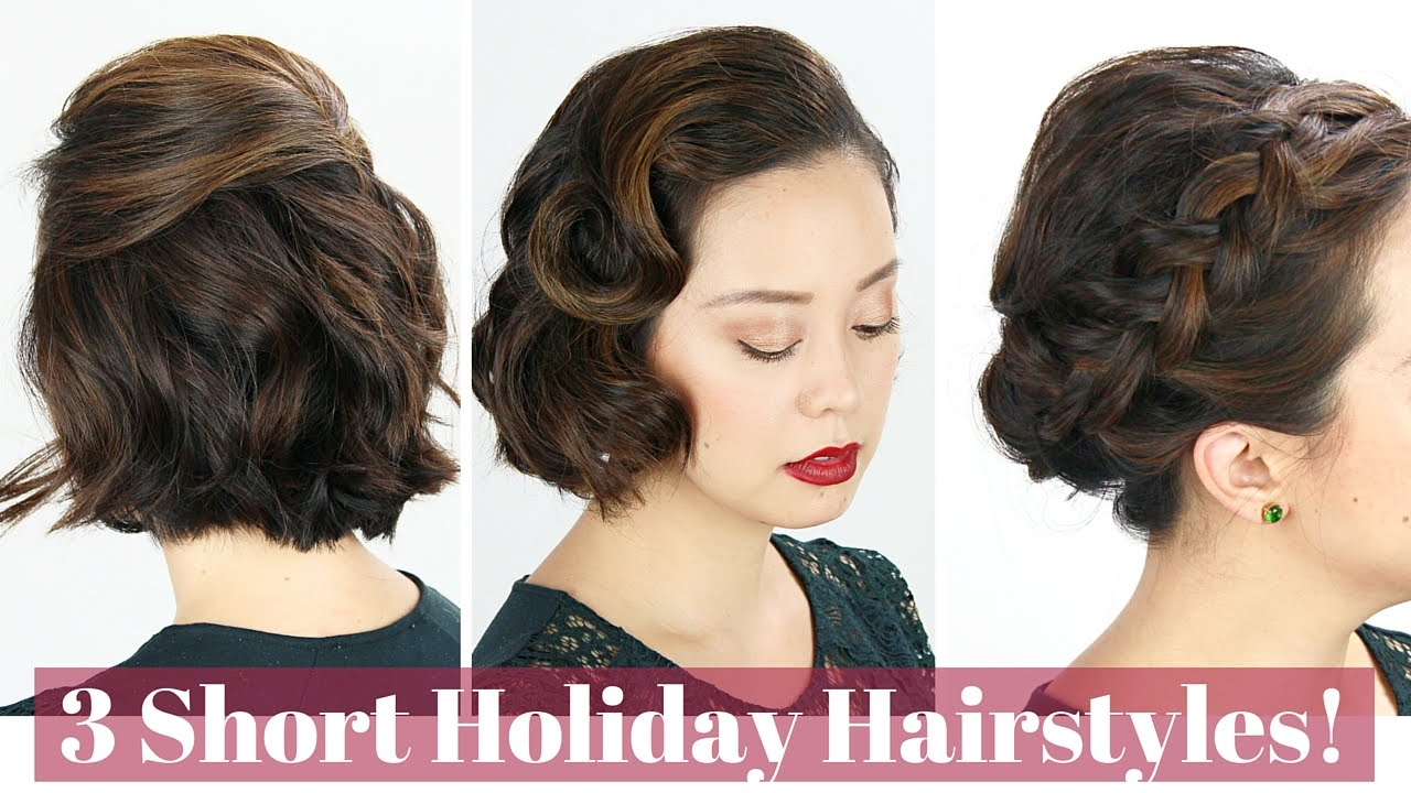 3 short hair holiday hairstyles! - youtube