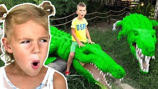 Vania and Mania Pretend Play in the Outdoor Playground for kids Family Fun Adventures