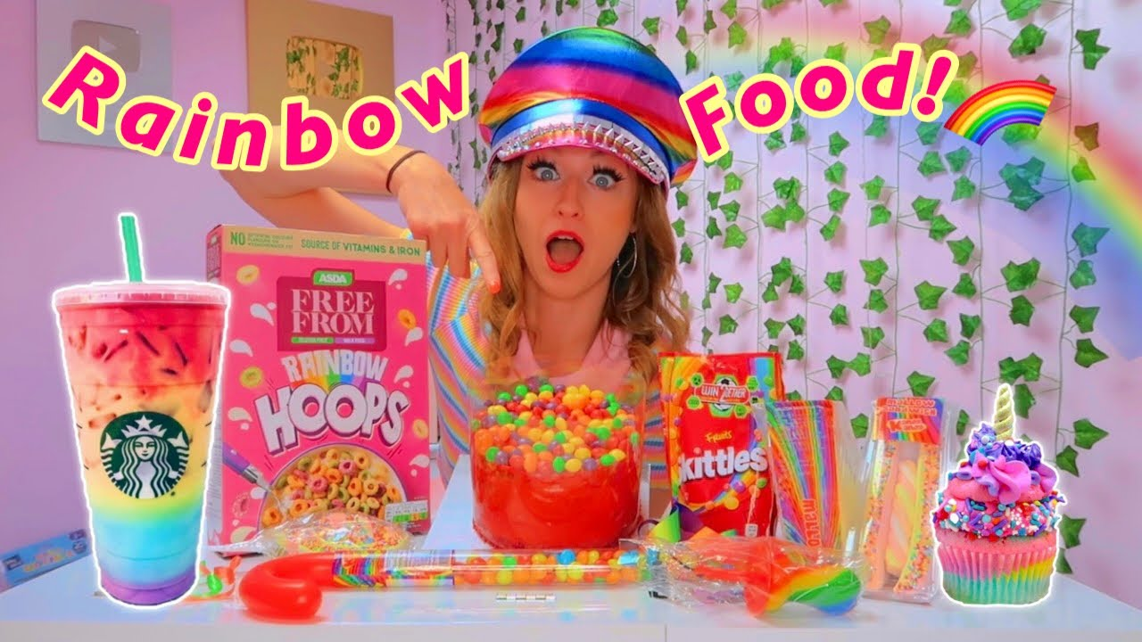 I Only Ate RAINBOW FOOD For 24 Hours Challenge!!😱🌈*urmm this was wild*✨ | Rhia Official♡