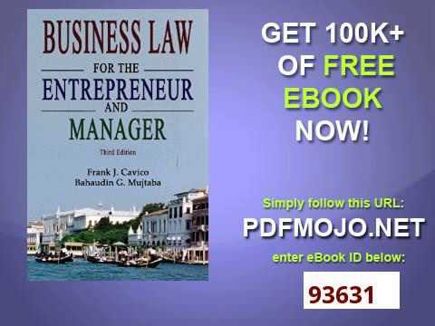 Business Law for the Entrepreneur and Manager 3rd Edition