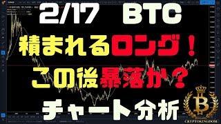 2/17【BTC、ETH、XRP】積まれるロング、下げの燃料満タンでこの後暴落か?!チャート分析