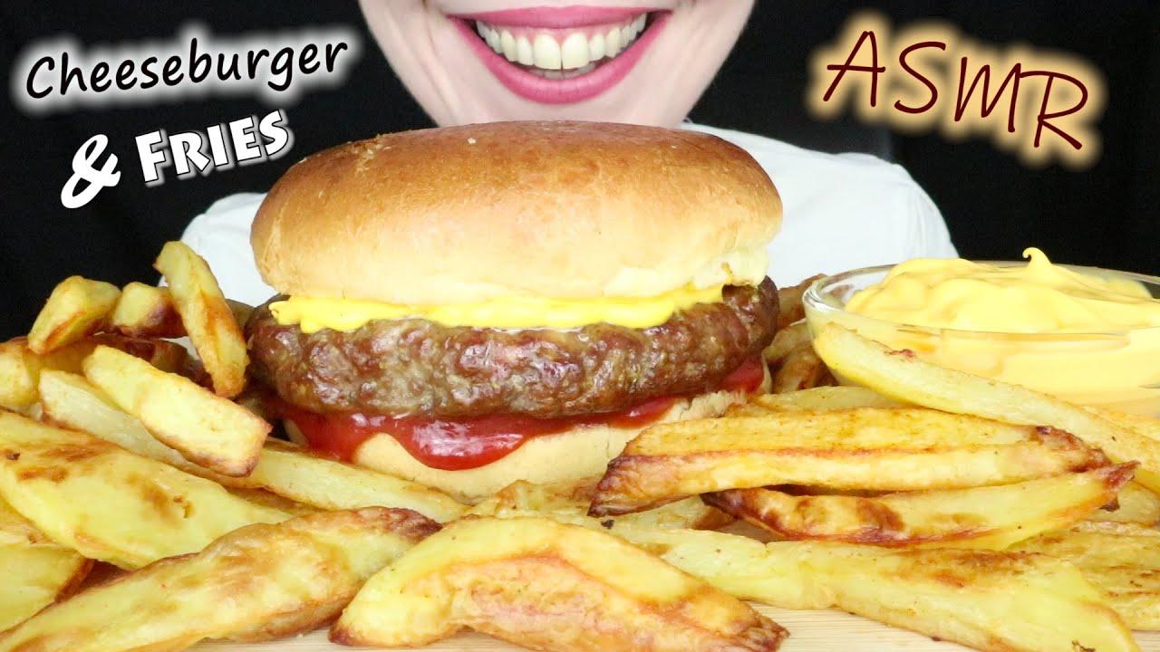 ASMR Eating HUGE CHEESEBURGER 🍔 & FRIES 🍟 *Whispering* Messy Eating   SaltedCaramel ASMR