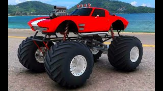 Чудо машинки монстр Трак.внедорожник Бигфут Мультики про машинки Monster Truck Bigfoot.бибика