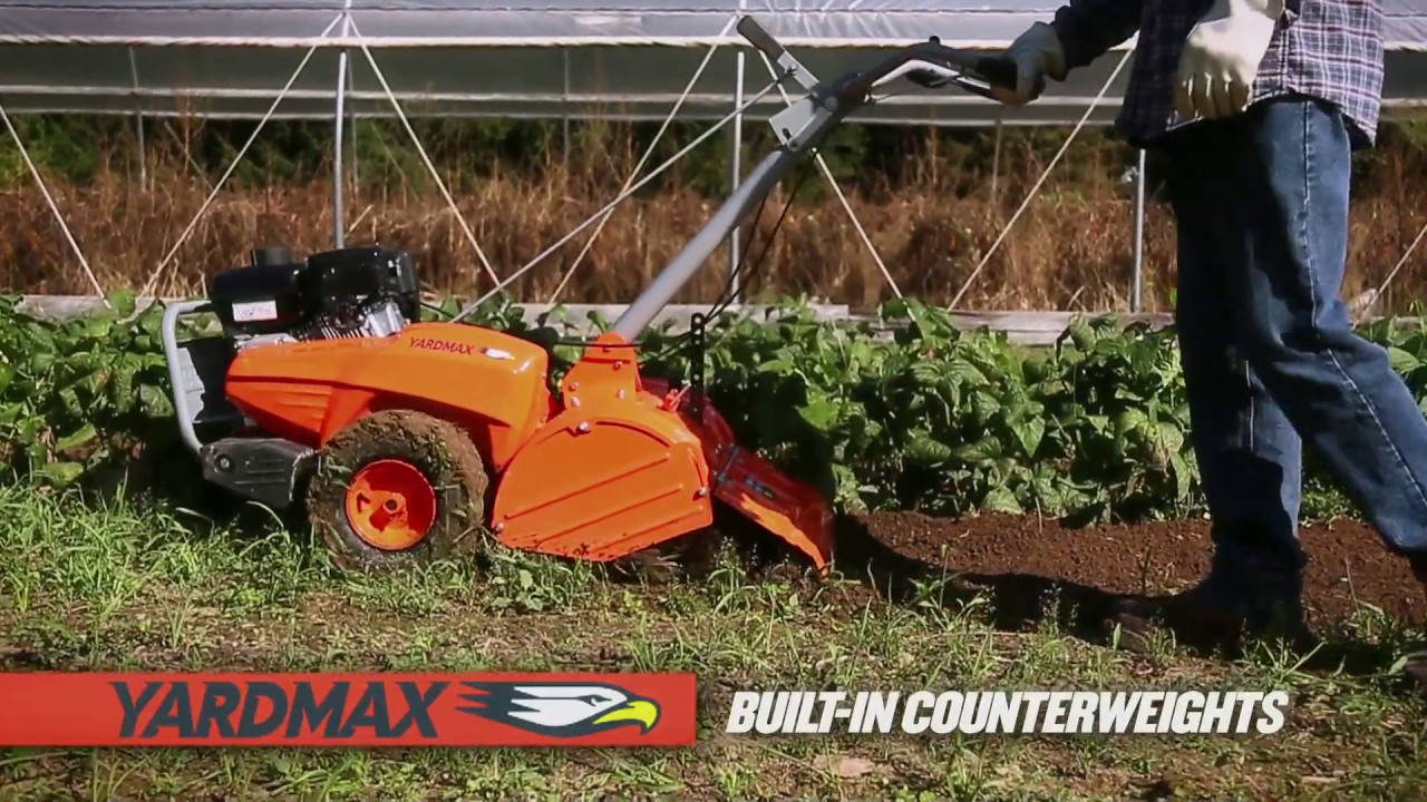 Features & Benefits of the YARDMAX Rear Tine Tiller - YouTube