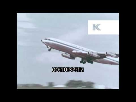 Early 1970s Pan Am Plane Takes Off from London Airport