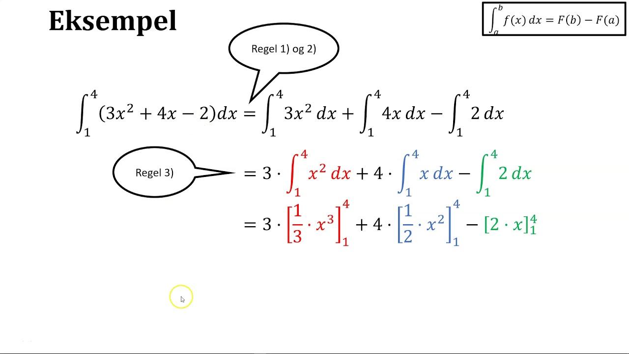 Integralregning 5c   regneregler for bestemt integral og substitution