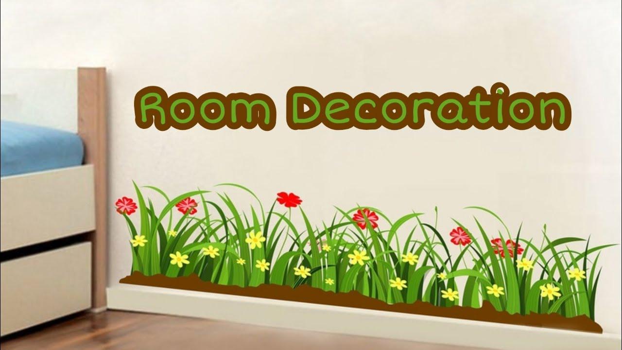 Diy Wall Painting Room Decoration Idea Grass Flower Wall Drawing Room Decor Grass Painting Youtube