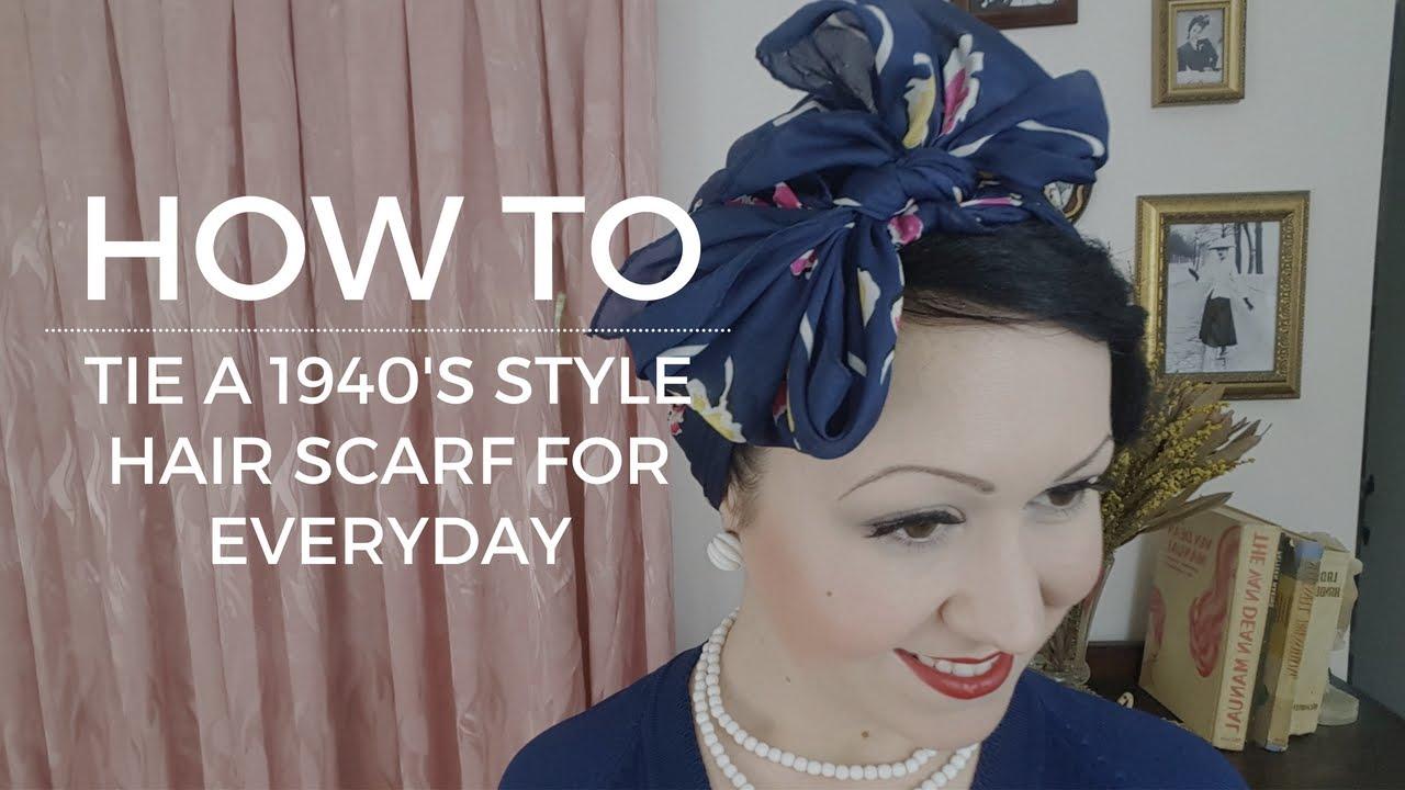 tie vintage 1940's hairscarf