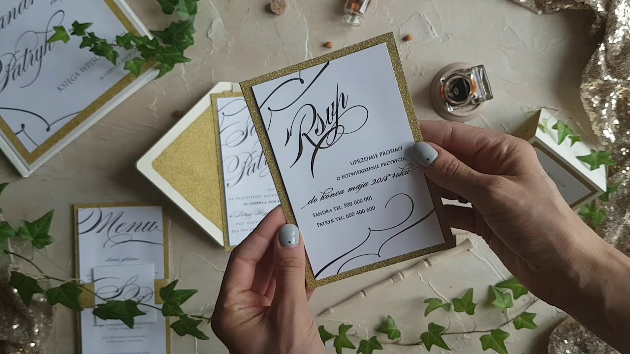 Brokatowe Złoto Zaproszenia ślubne W Stylu Glamour Youtube