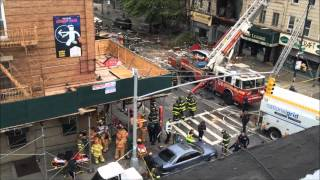 FDNY BATTLING DEADLY MAJOR 10-60 5TH ALARM GAS EXPLOSION & FIRE ON 13TH AVENUE IN BROOKLYN, NYC.