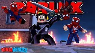 ROBLOX - NINJA HEROES, DEFEATING FAKE SPIDER-MAN GOONS!!
