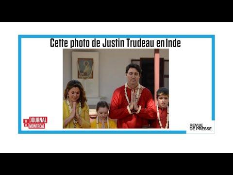 """""""Sandales, tunique rouge et colliers à fleurs"""" pour Justinn Trudeau en Inde"""