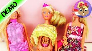 3 zwangere poppen met babybuik  Vergelijking Steffi Love prinses en zwangere moeders