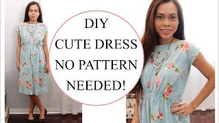 How to sew Dress without Pattern, Sewing project for Beginners