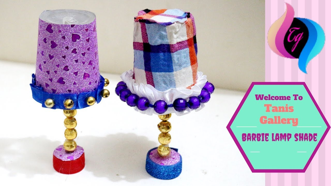 How to make a dollhouse lamp - Barbie lamp shade - Easy doll table ...