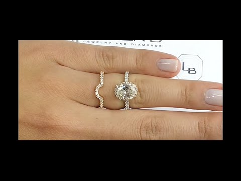 120 ct Oval Diamond Halo Ring Matching Curved Band YouTube