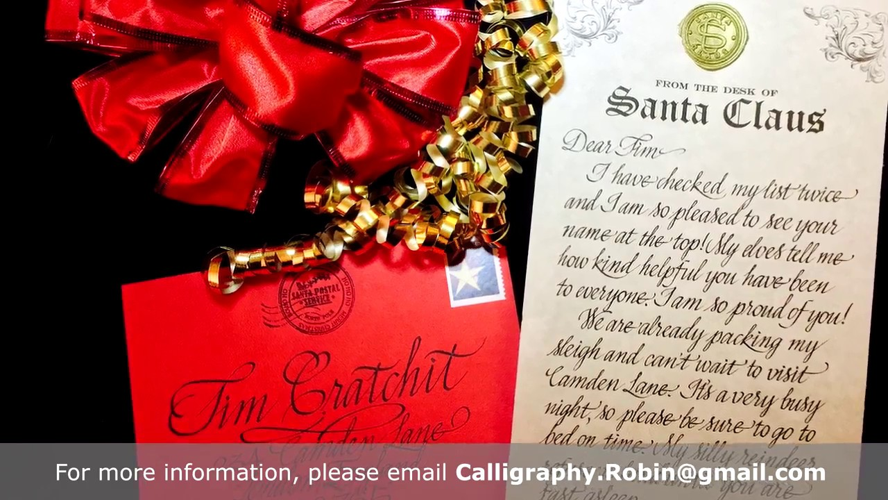 Personalized Calligraphy Letters From Santa Claus  Youtube