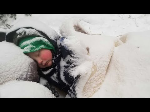 Winter Survival Camping with 4 yr old in Alaska - Primitive Survival Shelter