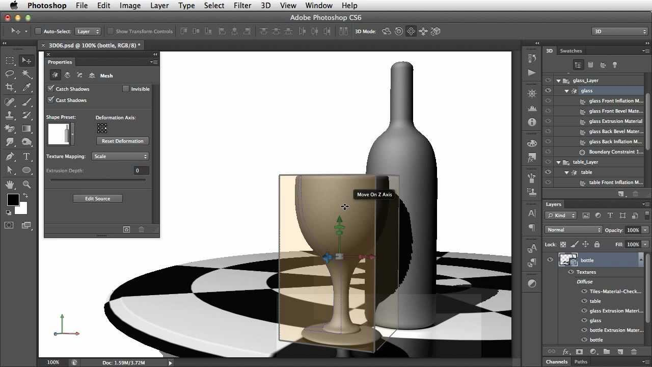 Adding Texture and Transparency to 3D Objects in Photoshop