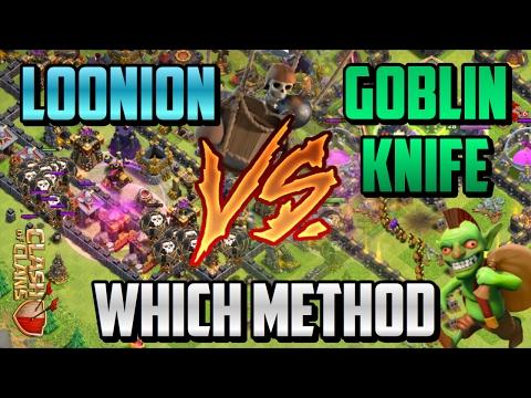CLASH OF CLANS - TH10 FARMING STRATEGIES | GOBLIN KNIFE vs LOONION
