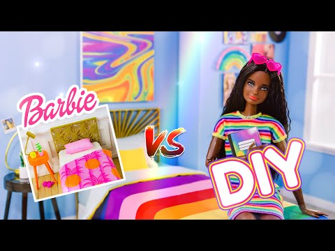 VERSUS: DIY Rainbow Bedroom VS Barbie Bedroom Play Set